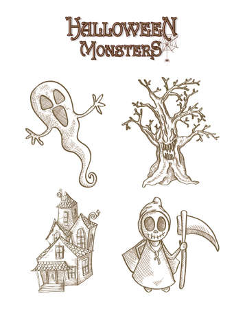 basic candy: Los monstruos de Halloween criaturas de dibujos animados fantasmal establecidos. Vectores