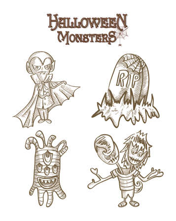 Halloween Monsters spooky cartoon creatures set.  Vector