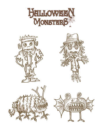Halloween Monsters spooky cartoon character creatures set.  Vector