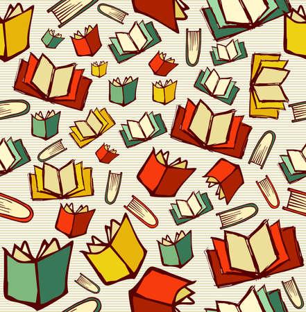 戻る学校知識概念、開いた本のシームレスなパターンの背景に描画スタイル手をスケッチします。