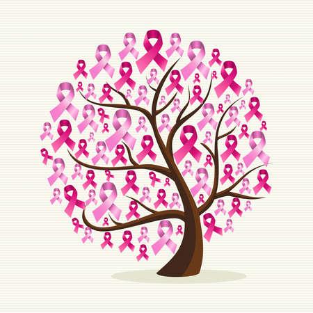 pechos: Conciencia del c�ncer de pecho �rbol conceptual con cintas de color rosa. Vectores