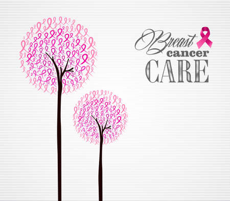 Breast cancer awareness conceptual forest with pink ribbons.  Illustration