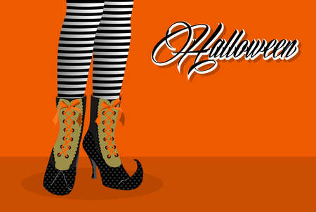 Happy Halloween trick or treat spooky witch legs holiday elements illustration. Vector
