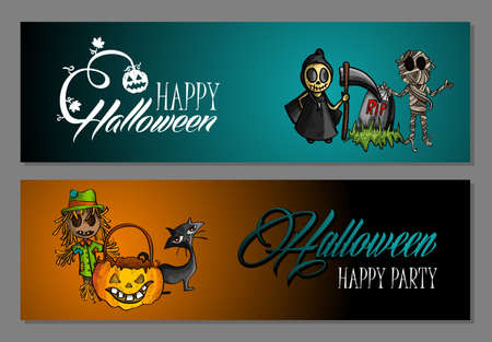 basic candy: Halloween monsters Happy party web banners set.