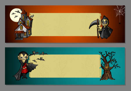 basic candy: Halloween monsters and typical elements blank space web banners set.  Illustration