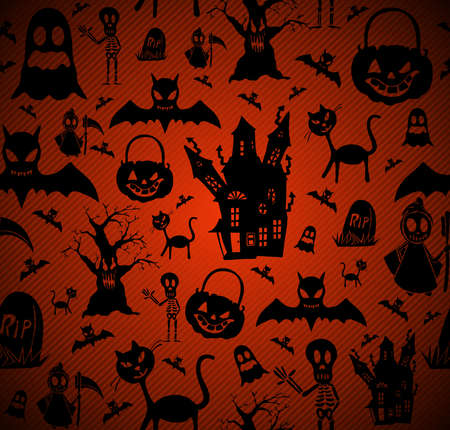 holiday house: Happy Halloween elements seamless pattern background.