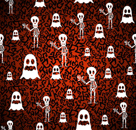 basic candy: Happy Halloween ghosts and skeletons seamless pattern background.