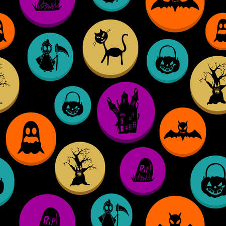basic candy: Happy Halloween colorful elements seamless pattern background.  Illustration