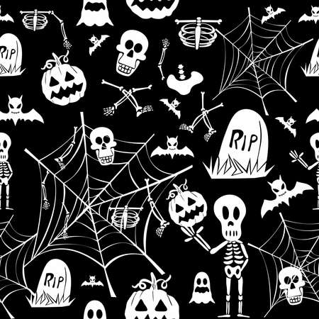Happy Halloween white elements seamless pattern background.  Vector