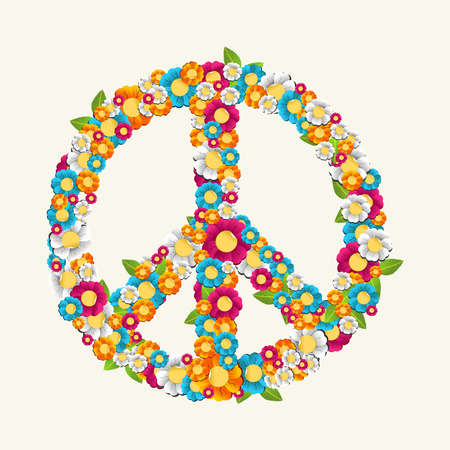 nonviolent: Isolated peace symbol made with beautiful flowers composition. EPS10 Vector file organized in layers for easy editing.
