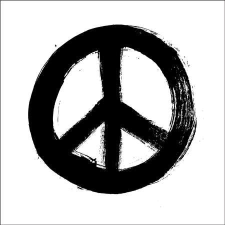 symbol peace: Aislado mano dibujada s�mbolo composici�n del estilo del cepillo paz. EPS10 archivo Vector organizado en capas para facilitar la edici�n.