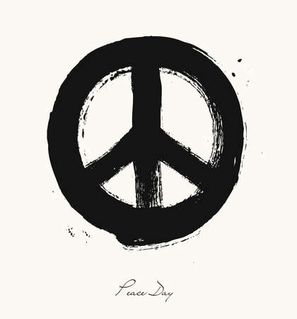 nonviolent: Isolated hand drawn peace symbol brush style composition. EPS10 Vector file organized in layers for easy editing.