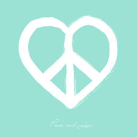 peaceful scene: Isolated heart shape peace symbol brush style composition over blue background. EPS10 Vector file organized in layers for easy editing.