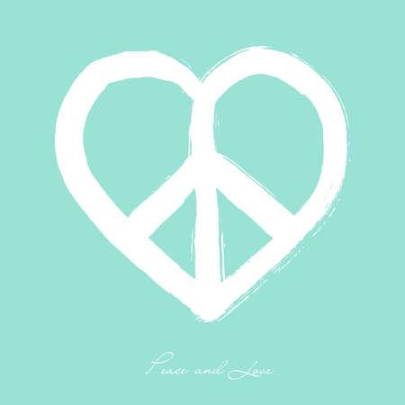 simbolo de paz: La forma del símbolo de paz del estilo del cepillo composición Corazón aislado sobre fondo azul. EPS10 archivo Vector organizado en capas para facilitar la edición.