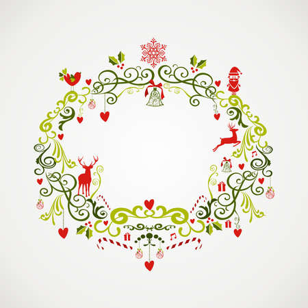 Cute vintage Christmas decoration elements mistletoe composition. EPS10 vector file organized in layers for easy editing. Vector