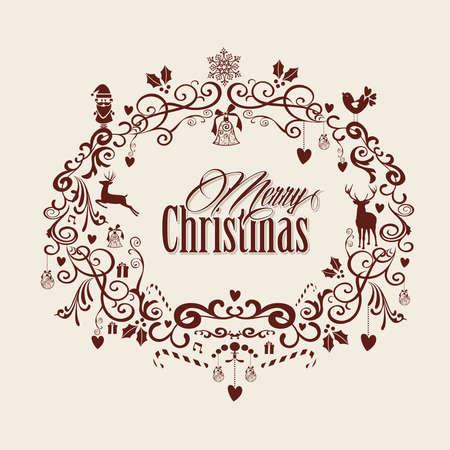 merry christmas text: Retro Feliz Navidad texto dentro composici�n decoraci�n mu�rdago. EPS10 archivo de vectores organizados en capas para facilitar la edici�n