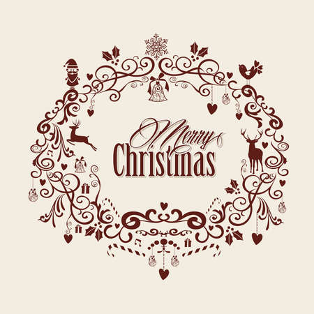 Retro Merry Christmas text inside mistletoe decoration composition. EPS10 vector file organized in layers for easy editing Vector