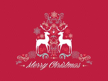 merry christmas text: Retro texto de la Feliz Navidad, los renos y los elementos de la composici�n de invierno. EPS10 archivo de vectores organizados en capas para facilitar la edici�n Vectores