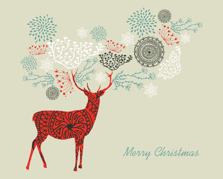Merry Christmas text with reindeers and vintage elements composition. EPS10 vector file organized in layers for easy editing. Vector