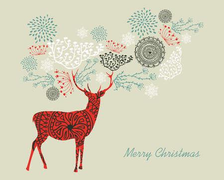 merry christmas text: Texto de la Feliz Navidad con renos y la composici�n de elementos vintage. EPS10 archivo vectorial organizado en capas para facilitar la edici�n.