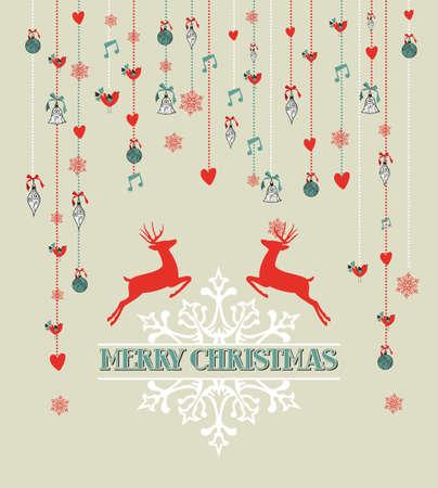merry christmas text: Texto de la Feliz Navidad con renos, copos de nieve, adornos colgantes y el coraz�n forma el fondo. EPS10 archivo vectorial organizado en capas para facilitar la edici�n. Vectores