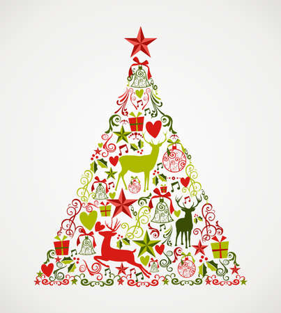 순록 및 휴일 요소 조성 다채로운 메리 크리스마스 트리 모양입니다. 쉽게 편집 할 레이어로 구성 EPS10 벡터 파일입니다. 일러스트