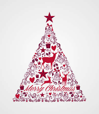 Merry Christmas tree shape with red reindeers and winter elements composition. EPS10 vector file organized in layers for easy editing. Vector
