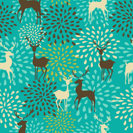 Vintage Christmas elements, reindeer and snowflakes seamless pattern background. EPS10 vector file organized in layers for easy editing. Vector
