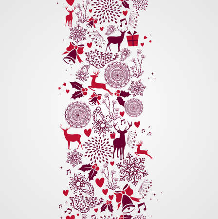 Vintage Christmas elements, reindeers and other elements seamless pattern background. EPS10 vector file organized in layers for easy editing. Vector