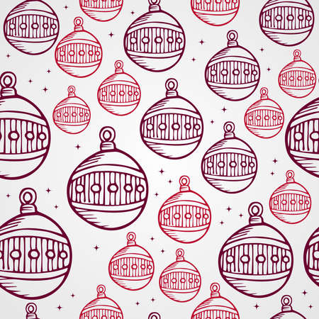 Merry Christmas hand drawn circle bauble seamless pattern background. EPS10 vector file organized in layers for easy editing.  Vector