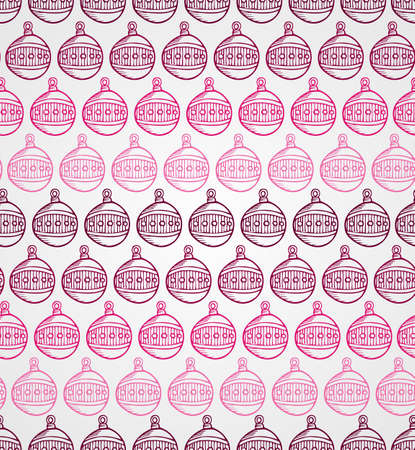 Merry Christmas sketch style circle bauble seamless pattern background. EPS10 vector file organized in layers for easy editing.  Vector