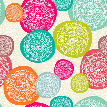 Vintage Merry Christmas circle elements seamless pattern background. EPS10 vector file organized in layers for easy editing.  Ilustrace
