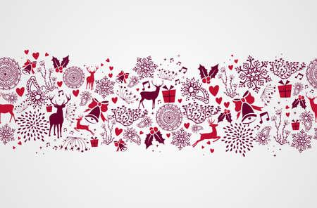 renos de navidad: Vintage elementos de la Navidad, renos y las formas de corazón de fondo transparente. EPS10 archivo vectorial organizado en capas para facilitar la edición. Vectores