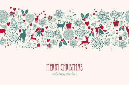 ビンテージ クリスマス、要素テキストのシームレスなパターンの背景とトナカイです。EPS10 ベクトル ファイル簡単に編集用レイヤーに整理します。