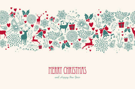 renna: Elementi Vintage Natale, renne con il testo seamless. EPS10 file vettoriale organizzati in strati di facile montaggio.