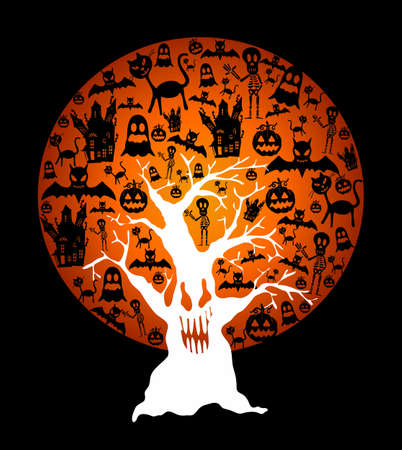 house party: Halloween full moon with elements inside and spooky tree over black background. EPS10 Vector file organized in layers for easy editing.