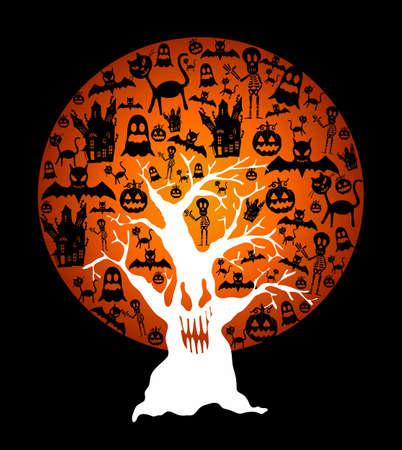 casita de dulces: Luna llena de Halloween con elementos en el interior y el �rbol espeluznante sobre fondo negro. EPS10 archivo Vector organizado en capas para facilitar la edici�n. Vectores