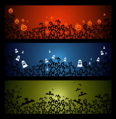 Halloween elements, pumpkin bats and ghosts web banners set Vector