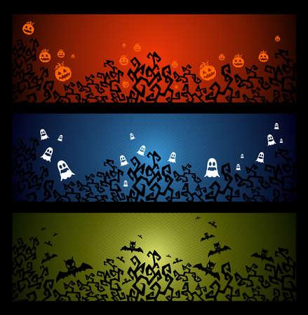 basic candy: Halloween elements, pumpkin bats and ghosts web banners set