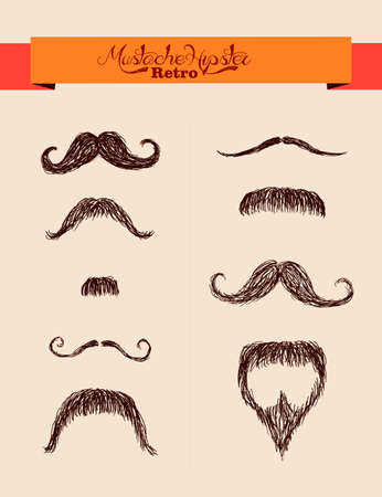 fake mustaches: Retro hipsters fashion ribbon text label over mustaches set