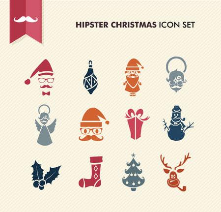 renos de navidad: Colorful Hipster icono de la Feliz Navidad fijado con los vidrios y elementos de la moda Vectores