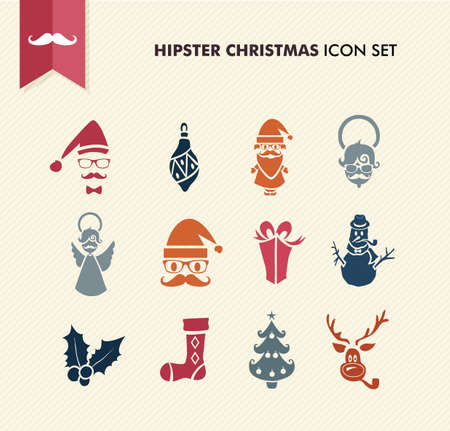 smoking pipe: Colorful Hipster Merry Christmas icon set with glasses and fashion elements