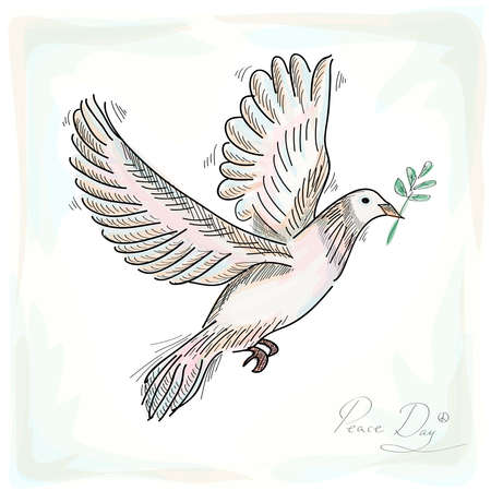 pacifist: Hand drawn peace symbol dove bird with texture background