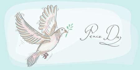 paloma de la paz: Dibujado a mano día paloma paz símbolo sobre fondo de textura Vectores