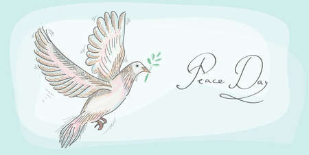 Hand drawn peace day symbol dove over texture background Vector