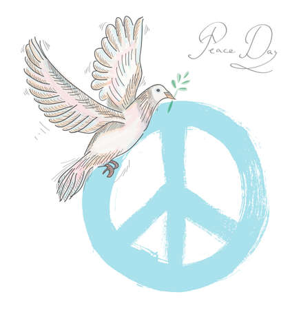 nonviolent: Hand drawn peace day composition: blue symbol and dove bird over texture background