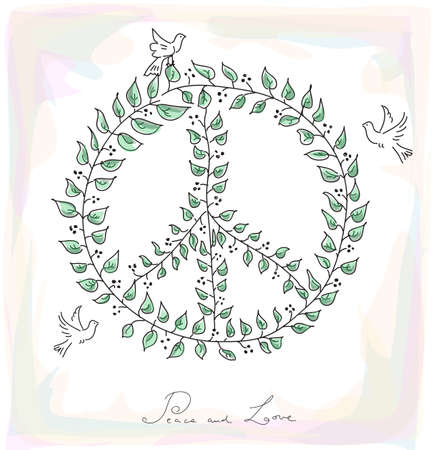 nonviolent: Sketch style peace and love composition: leaf made symbol and dove birds over texture background