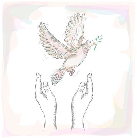 nonviolent: Sketch style human hands with peace symbol dove illustration over texture background