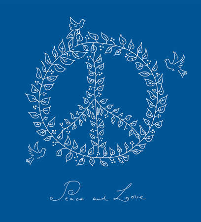 nonviolent: Sketch style peace and love composition: leaf made symbol and dove birds over blue background Illustration