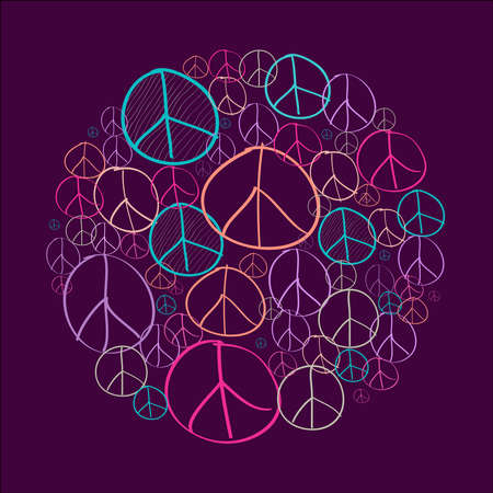 peace love: Colorful sketch style peace symbols circle shape composition